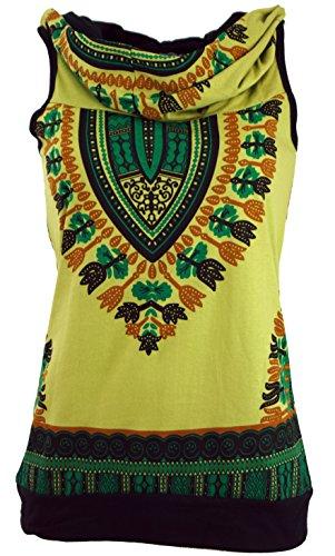 Guru-Shop Kapuzen Dashiki Tank Top, Goa Festivaltop, Damen, Lemon, Baumwolle, Size:M/L (38/40), Tops & T-Shirts Alternative Bekleidung