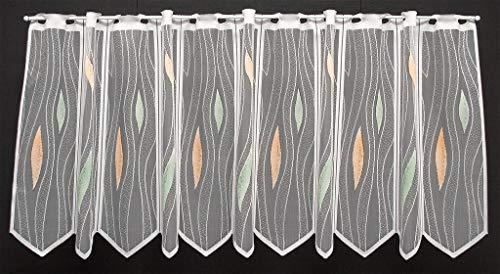 Scheibengardine mit Tropfenmuster 50 cm hoch | Breite der Gardine durch gekaufte Menge in 14 cm Schritten wählbar (Anfertigung nach Maß) | weiß/Pastellfarben | Vorhang Küche Wohnzimmer