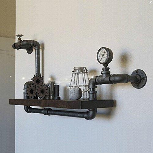 PinWei Home Regal Schmiedeeisen Regal Wand montiert Holz-Regal Vintage kreativen Rohre von Alten Möbeln,Matt Black
