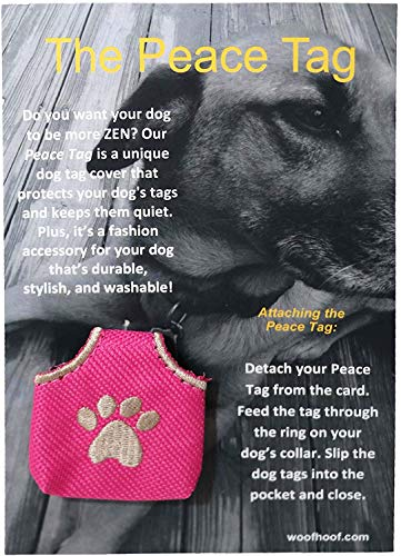Woofhoof Dog Tag Cover - Pink Pawprint