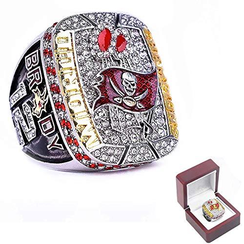 2021 nuevo Tampa Bay Super Bowl Championship Rings - Buccaneers Fans Memorial Ring - Tom 12 Brady Goat, anillos conmemorativos de moda con caja (10#)