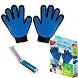 True Touch Five Finger Deshedding Glove- Gentle Grooming Great Cats & Dogs with Long Or Short Fur- Includes 1 Left Hand, 1 Right Hand, 1 Lint Roller