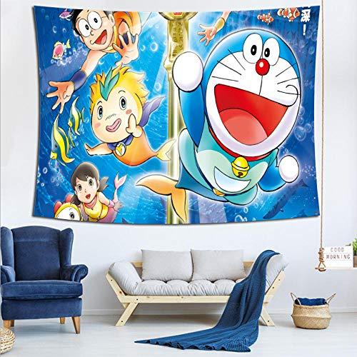 LSSQT Tapices,Doraemon Anime 3D Tapiz De Moda Colchas Marroquí Telón De Fondo Decoración Tapiz Alfombras De Pared