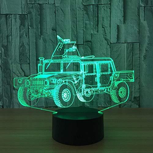Lámpara de ilusión óptica 3D, forma de carro, luz de noche LED, juguete, lámpara de mesa USB de 16 colores que cambia con control remoto o táctil, el mejor regalo de cumpleaños de Navidad para