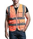 SFVest - Chaleco de Seguridad con Multi Bolsillos de Cremallera para Hombre Ciclismo Moto Deportes - Naranja - M