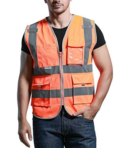 SFVest Unisex Hohe Sichtbarkeit Warnweste Atmungsaktiv Reflektierende Weste mit Taschen - Orange Größe XL