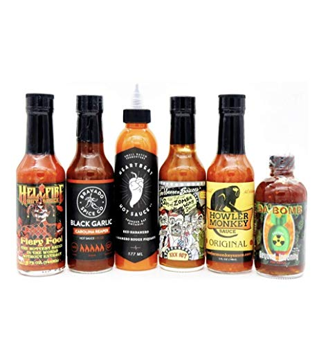 Season 6 Best Seller Hot Sauce Collection Da Bomb Heartbeat Red Habanero Torchbearer Son Of Zombie Bravado Black Garlic Howler Monkey Hellfire Fiery Fool