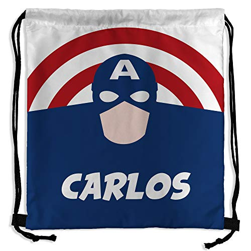 Mochila Saco Superhéroes Personalizada con Nombre. Regalo Friki. Vuelta al Cole. Varios Diseños a Elegir. Capitán América
