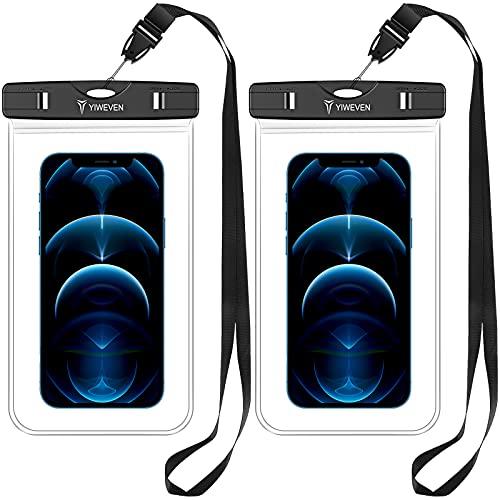YIWEVEN Funda Impermeable, [2 Unidades] IPX8 Funda Universal a Prueba de Agua Bolsa Seca para iPhone 12 Pro Max/11/XR/SE 2020/7/8/Samsung Galaxy/Xiaomi/Redmi/Poco y más teléfonos de hasta 7 Pulgadas