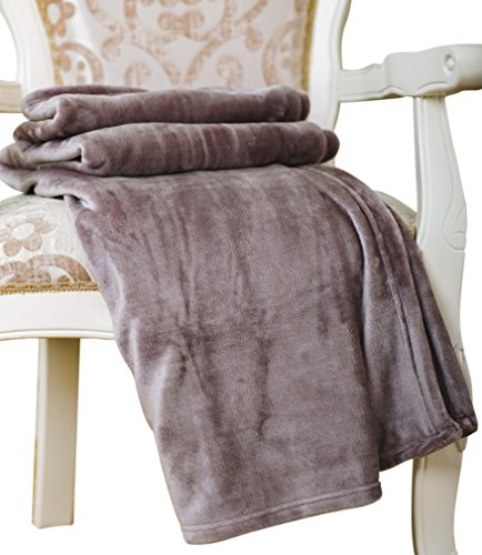 Caitlin White Throw Blanket for Couch/Sofa/Bed, Luxury Super Soft Microplush Velvet, 50x60, Grey