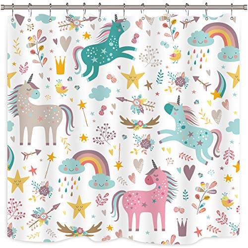 Riyidecor Unicorn Shower Curtain for Kids Girls Funny Fairy Cartoon Fantasy Colorful Baby Animal Rainbow Cloud Heart 72x72 Inch Bathroom Home Decor Fabric Polyester Waterproof 12 Pack Plastic Hooks