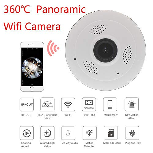 Rabusion Hot for V380 HD 360 Degree camera Panoramic Wifi Wireless Home Security Camera Night Vision Camera white U.S. regulations