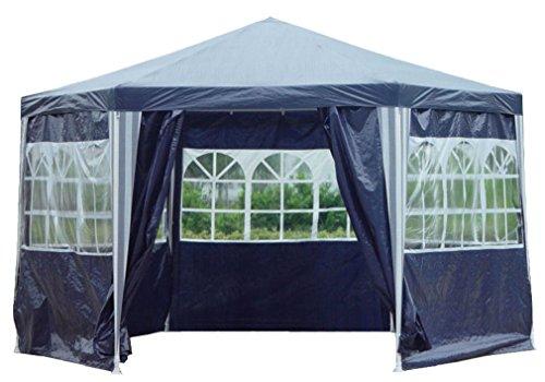 Kronenburg Pavillon PE Gartenzelt Wasserdicht 6-Eck oder 3 x 3 m mit Seitenteilen Farb- und Modellwahl