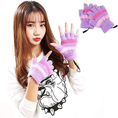 N\A Handschuhe USB Beheizte for Damen und Herren, beheizte Handschuhe Damen Herren Fäustling Winter-Hände warm Laptop Handschuhe for Indoor oder Outdoor, Qualität, Gemütlich Heizung (Color : Purple)