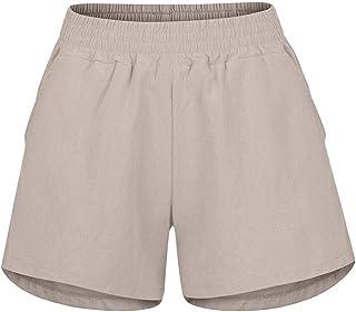 Summer Ladies Shorts Loose Casual Woman Pure Color Elastic Waist Linen Pockets