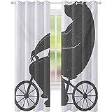 Cortinas opacas para niños, Oso en una bicicleta, Lindo Humor Parodia Estilizada Moderna Divertida Ciclismo Ilustración Hipster, W52 x L108 Cortinas con ojales para tratamiento de ventanas, Gris
