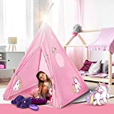 Teepee Tent for Kids | Unicorn Tepee Play Tent Indoor and Outdoor | Tipee Tent for Girls and Boys | Children's Best Tee Pee Playhouse Fort | Portable Tent w/ Convenient Carry Case & Unicorn Bracelet