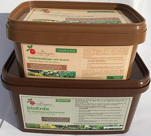 1.75 kg bioGartendünger mit Guano [Preis-Leistungssieger im Test] & 6 Liter bioErde für Gemüseanzucht und Kräuter