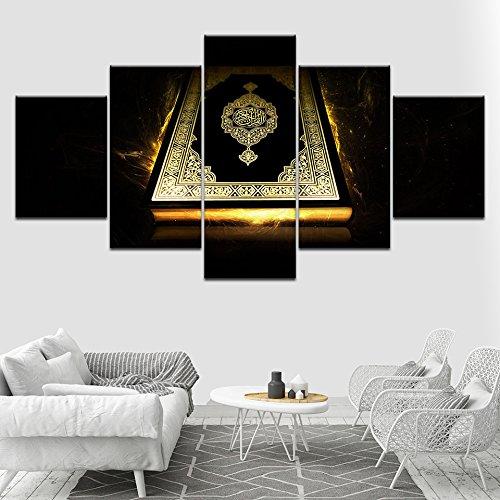 Bilder Abstrakt 5 Teilig Wandbild Leinwand Islamische Bilder Alte Bibel Vlies - Leinwand Bild Wandbilder Wohnzimmer Wohnung Deko Kunstdrucke Modern Wandbilder Design Abstrakt Poster Wanddekoration