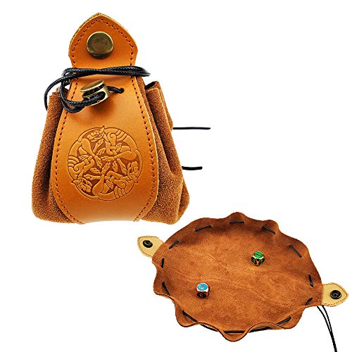 Handmade Leather Dice Bag-Tray-Draw String Dice Pouch, Natural Brown Rich Looking Leather Moneybag Coin Cash Purse with Celtic Wolf Design for DND Game and Other Roleplaying Games