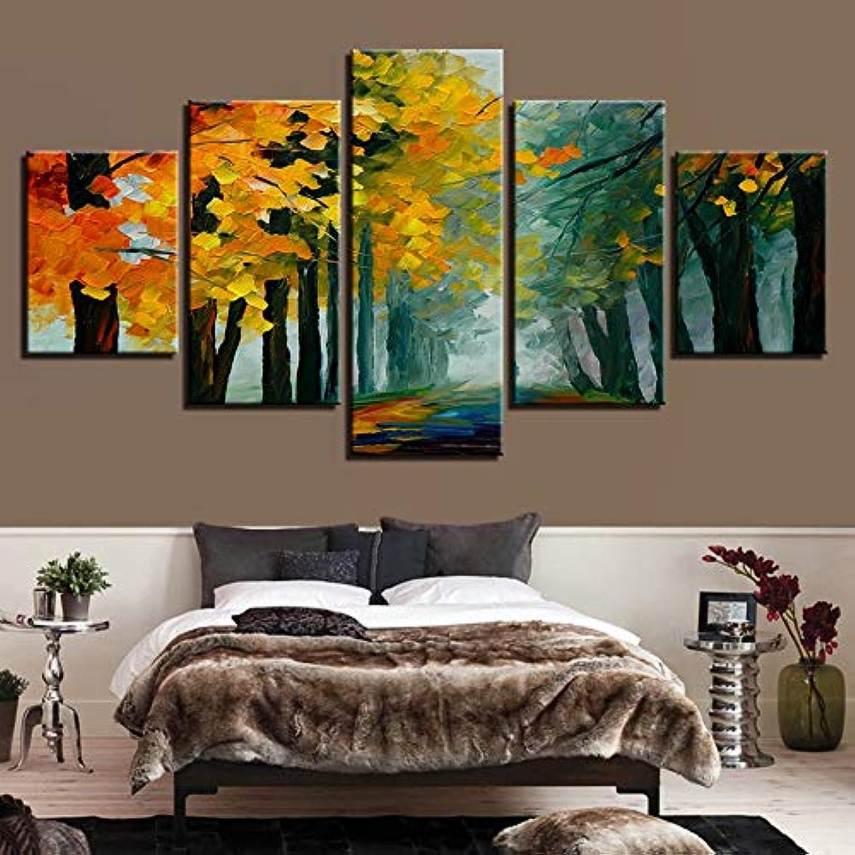 RMRM Lienzo Moderno Pintura HD Impresiones En Casa Decoración árbol 5 Unidades Bosque Arte de la Parojo Paisaje Imágenes Modulares Sala de Estar Ilustraciones Cartel 20x35cm20x45cm 20x55cm