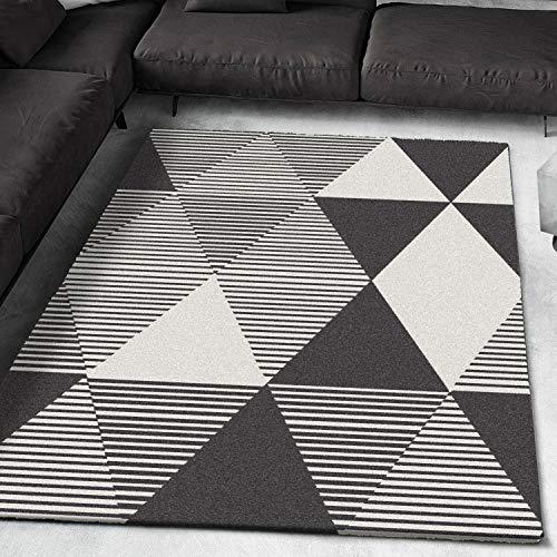 Universal Alfombra Geométrica Triángulos y Rayas En Negro y Blanco|Denmark Triángulos Blanco