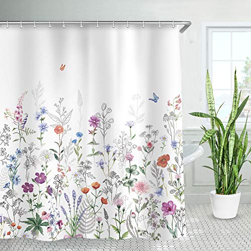 LIVILAN Duschvorhang-Set mit 12 Haken, dekorativer Duschvorhang mit bunten Blumen & grünen Blättern, maschinenwaschbar, 183 x 213 cm