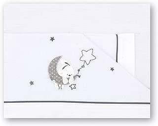 Pirulos Luna Juego de Sábanas 100% Algodón para Mini Cuna de 50x80 cm para Invierno y Verano, Color Gris