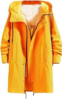 WUFAN Men's Hood Outwear Windbreaker Autumn Mid-Long Classic-Fit Jacket