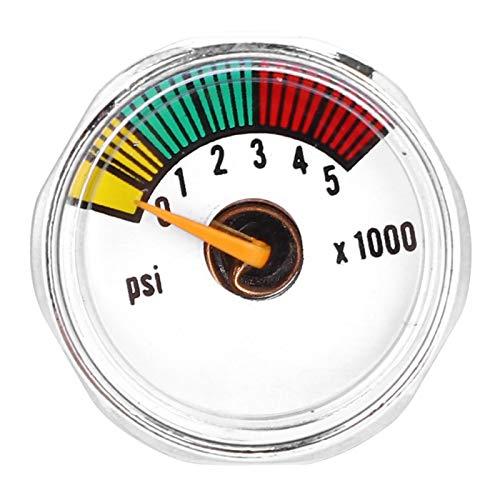 Demeras Mini-Manometer-Vakuummanometer 3000psi & 5000psi 1/8NPT Micro-Mini-Manometer für Paintball-PCP-Luftgewehre(5000psi 1/8NPT)