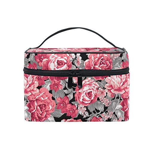 Trousse de maquillage, motif floral pivoine, sac de rangement organiseur de toilette avec grande poignée de voyage, pochette personnalisée avec compartiments pour adolescentes, filles, femme
