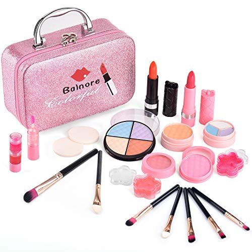 balnore Kinderschminke Set Mädchen 21 Stücke Waschbar Schminkset Kinder mit Schminkkoffer Mädchen Makeup Set Kosmetik Spielzeug Rollenspiel Geschenk ab 3 Jahren