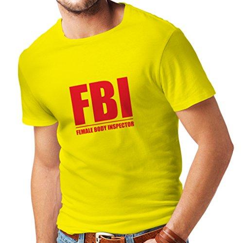 Männer T-Shirt FBI - weiblicher Körper Inspektor - lustige Geschenke für Männer, humorvolle Zitate (Small Gelb Rote)