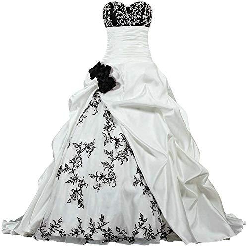 Zorayi Damen Elegante Kapelle Zug Prinzessin Ballkleid Brautkleid Hochzeitskleider Elfenbein & Schwarz Größe 40