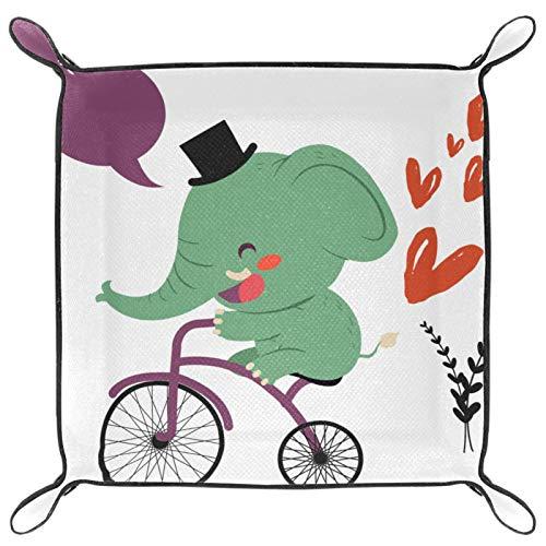 laire Daniel Bandeja de dados, plegable de piel sintética para juegos de dados en casa, divertido elefante paseo en bicicleta