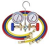 Pindex Manifold Gauge Set R12 R22 Herramientas de Aire Acondicionado HVAC AC con Manguera y Gancho