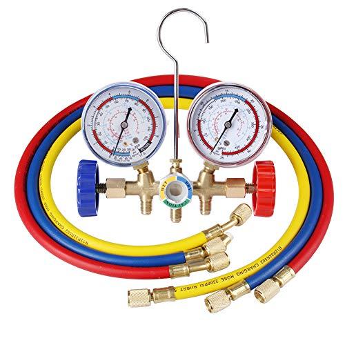Manometros Aire Acondicionado Conjunto de Herramientas de Aire Acondicionado con Manguera de Carga y Gancho AC Indicador de distribución de diagnóstico para R12 R22 R502