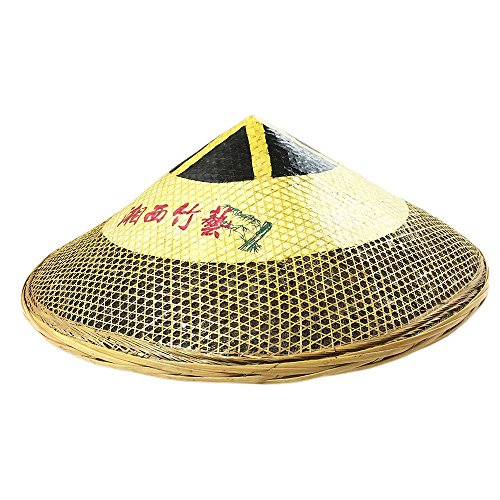 Sunny Hill Natural Bamboo Hat Hand-Woven Chinese Xiangxi Style Cap Yellow