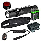EdisonBright Fenix PD35 2015 TAC Edition 1000 Lumen CREE LED Tactical Flashlight, ALG-01 Weapon Rail Mount, AR102 Pressure Switch, AOF-S Red Color Filter and Two CR123A Lithium Batteries Bundle