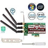 Ubit Carte réseau sans Fil 4530 Double Bande 5 GHz/2,4 GHz, Carte PCI-E Express sans Fil, Carte Adaptateur réseau WiFi avec 3 antennes à Haut Gain pour Ordinateur de Bureau/PC Gaming