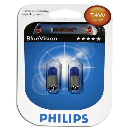 JOM Car Parts & Car Hifi GmbH T4W 12V 4W Glühlampensatz (2 Stück), Blue Vision 3400°K, Sockel BA9s
