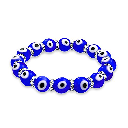 Bling Jewelry Turkish Blue Evil Eye Glass Bead Stretch Bracelet for Women Teens Rondelle Crystal Spacers for Protection and Good Luck