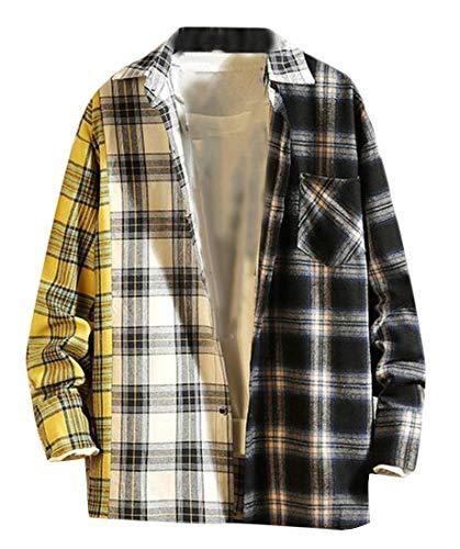ARTFFEL Mens Color Block Loose Plaid Plus Size Hip Hop Dress Flannel Checkered Shirt Yellow 3XL