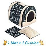 ANPI 2 en 1 Niches & Maison d'Animal Familier, Machine Lavable Pliable Lit du Cat Trou du Chat Doux Chaud Nid Grotte Maison Lit avec Coussin Amovible, 3 Tailles, Multicolore (Petit, Rayures Vertes)