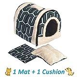 ANPI 2 en 1 para perro gato Igloo, plegable Máquina lavable cama del gato Cueva antideslizante caliente suave, 3 tamaños, Multicolor (S, rayas verdes)