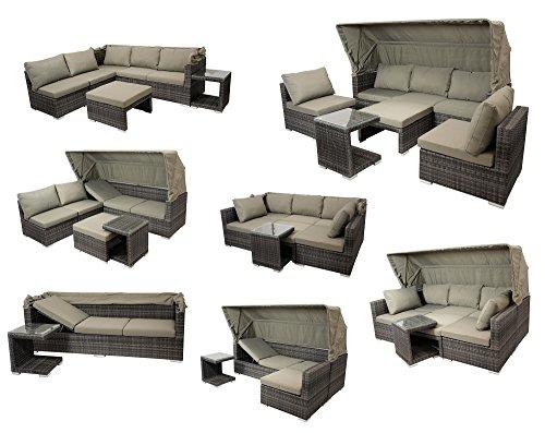 DEGAMO Funktions Loungeset MANACOR 16-teilig, Alu + Geflecht grau Bicolor, Polster taupefarben, XL-Ausführung mit 215cm Breite BZW. 195cm Liegefläche/Sitzbreite - 4
