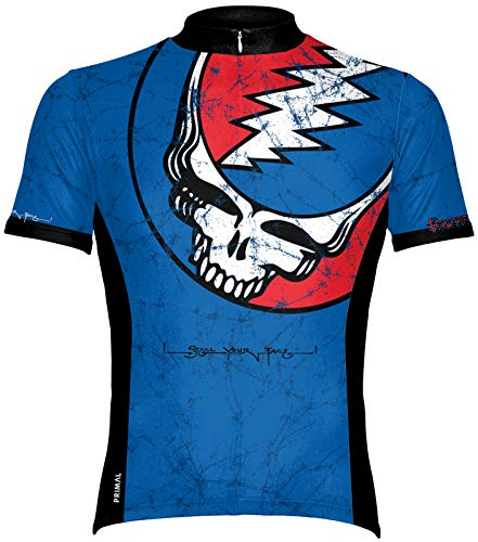 Primal Wear Cycling Jersey Grateful Dead Steal Your Face Skull Mens Short Sleeve
