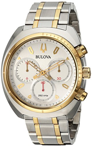 Bulova Men's Curv Collection Analog-Quartz Watch with Stainless-Steel Strap, Two Tone, 22 (Model: 98A157)