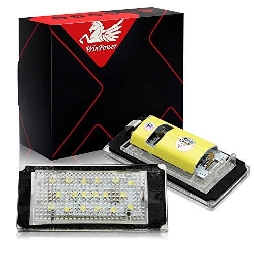WinPower LED Luces de matrícula para coche Lámpara Numero plato luces Bulbos 3582 SMD con CanBus No hay error 6000K Xenón Blanco frio para 1998-2003 3 Series E46 2D (Dos puertas)/M3, 2 Piezas