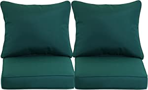 "BPS 24"" x 24"" Sofa Cushion Patio Furniture Outdoor Deep Seat Single Chair Back Olefin Fabric Slipcover Sponge Foam - Set of 2"